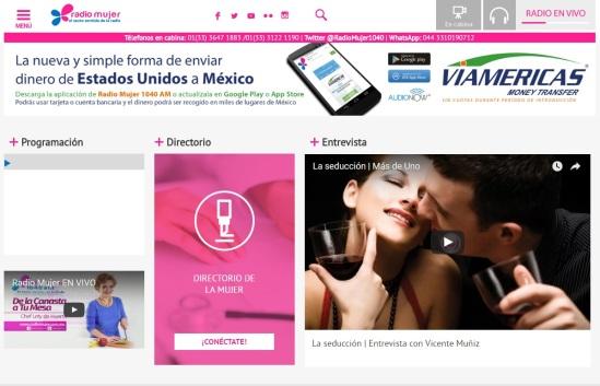 Promomedios website Radio Mujer